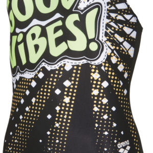 Arena G Feeling Jr V Back One Piece black-shiny-green