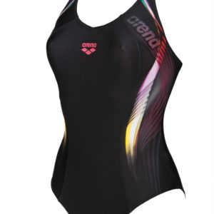 Arena W Fluency One Piece V Back black-fluo-red