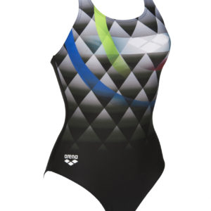 Arena W Bouncy V Back One Piece black-shiny-green