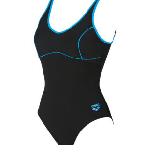 Arena W Tania Clip Back One Piece black-turquoise